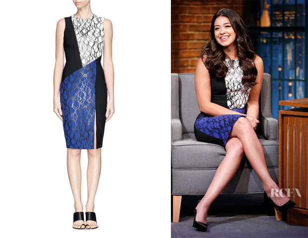 Gina Rodriguez' Elizabeth and James 'Maris' Colour Block Print Dress