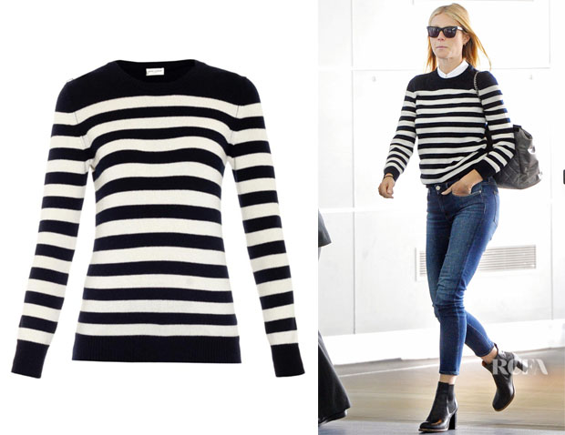 Gwyneth Paltrow's Saint Laurent Stripe Cashmere Sweater