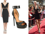 Heidi Klum's Cushnie et Ochs Deep V-Neck Mesh-Inset Dress And Givenchy 'Clara' Shark-Lock Sandals