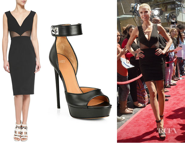 231d6c6b6a6 Heidi Klum s Cushnie et Ochs Deep V-Neck Mesh-Inset Dress And Givenchy   Clara  Shark-Lock Sandals · «