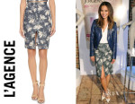 Jamie Chung's L'Agence Palm-Tree-Print Denim Pencil Skirt