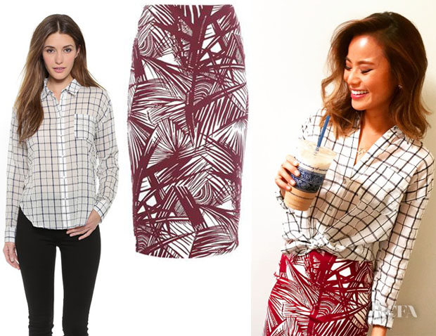 Jamie Chung's Elizabeth and James 'Carine' Shirt Elizabeth and James 'Aisling' Skirt