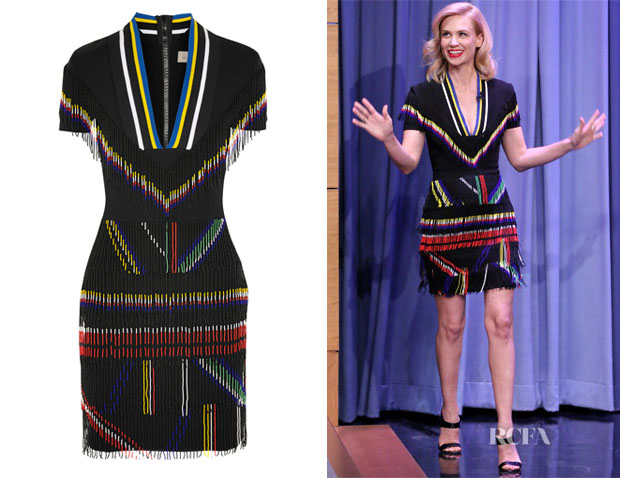 January Jones' Preen by Thornton Bregazzi 'Saada' Bead-Embellished Stretch-Cady Mini Dress