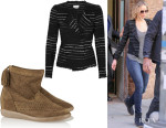 Jennifer Lawrence's Étoile Isabel Marant 'Glenn' Jacket And Isabel Marant 'Basley' Perforated Suede Boots
