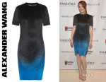 Julianne Moore's Alexander Wang Micro-Pleated Spray-Print Dress