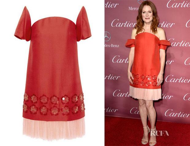 Julianne Moore's Delpozo Embellished Washed Twill Dress