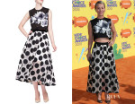 Kaley Cuoco's Lela Rose Rose-Embroidered Mesh Crop Top And Lela Rose Embroidered Mesh Polka-Dot Skirt
