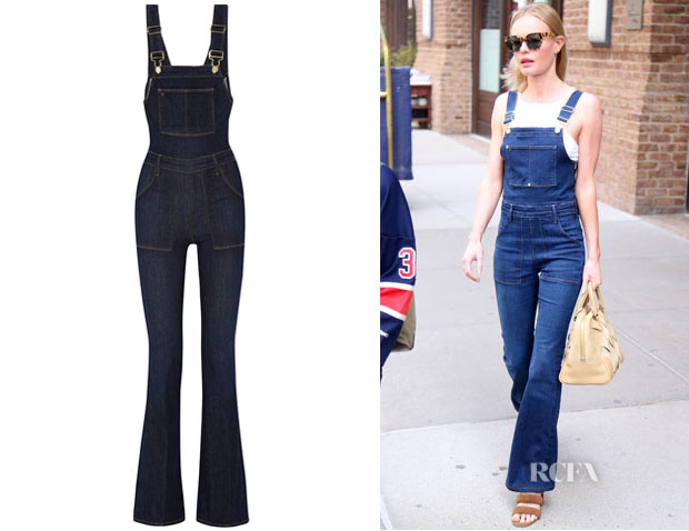Kate Bosworth's Frame Denim Le High Flare Stretch-Denim Overalls