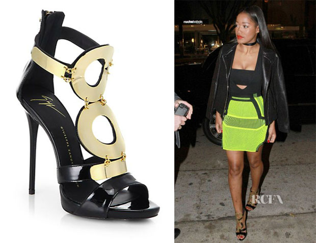 Keke Palmer's Giuseppe Zanotti Leather Goldtone Ring Sandals
