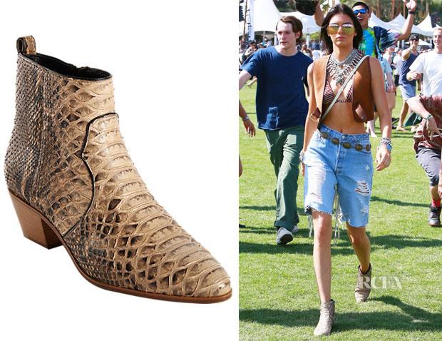 Kendall Jenner's Saint Laurent Python Rock Ankle Boots