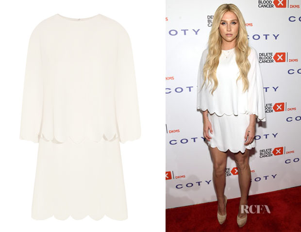 Kesha's Valentino Layered Scalloped Silk Mini Dress