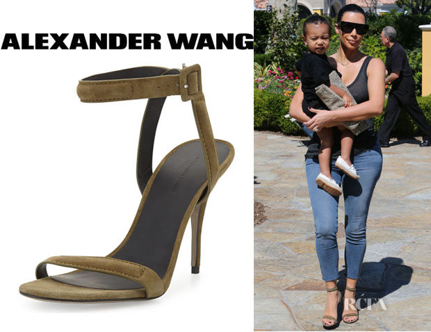 Kim Kardashian's Alexander Wang 'Antonia' Suede Naked Sandals