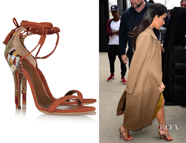 Kim Kardashian's Etro Beaded Suede Sandals