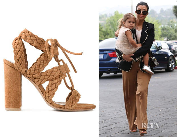 Kourtney Kardashian's Gianvito Rossi 'Jimi' Braided Sandals