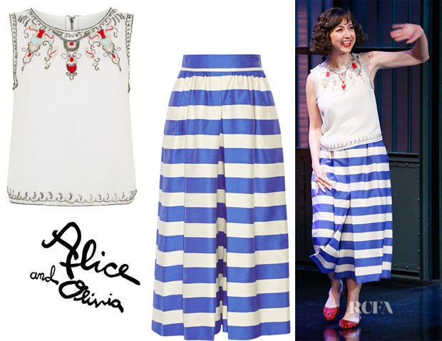 Kristen Schaal's Alice + Olivia 'Cecille' Embellished Crop Top And Alice + Olivia Striped crepe wide-leg pants