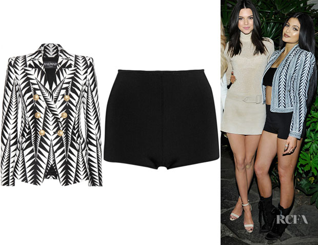 Kylie Jenner's Balmain Double-Breasted Blazer And Balmain High-Rise Stretch-Knit Shorts