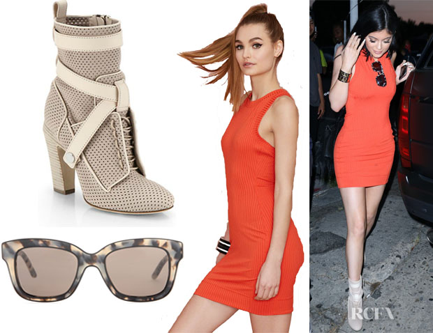 Kylie Jenner's Nasty Gal 'Brickell' Ribbed Dress, Fendi Perforated Lace-Up Leather Ankle Boots And Stella McCartney Square Sunglasses1