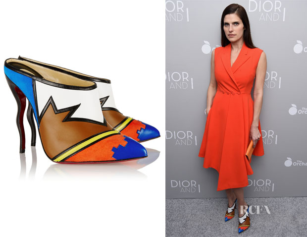 Lake Bell's Christian Louboutin 'Vagachina' Leather And Suede Mules