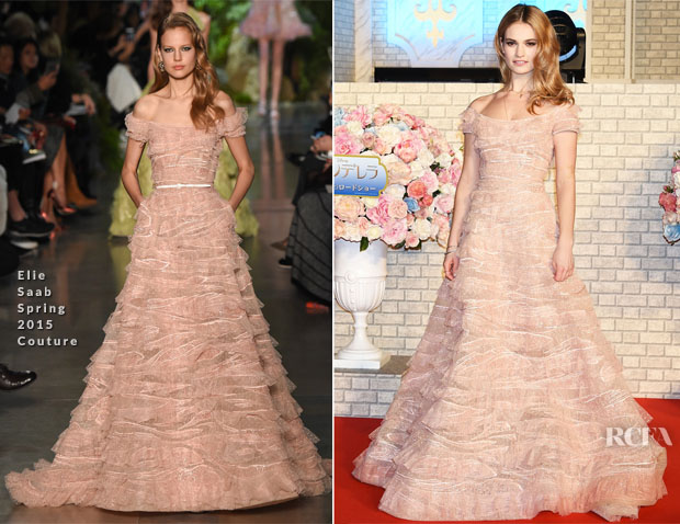 Lily James In Elie Saab Couture - 'Cinderella' Tokyo Premiere