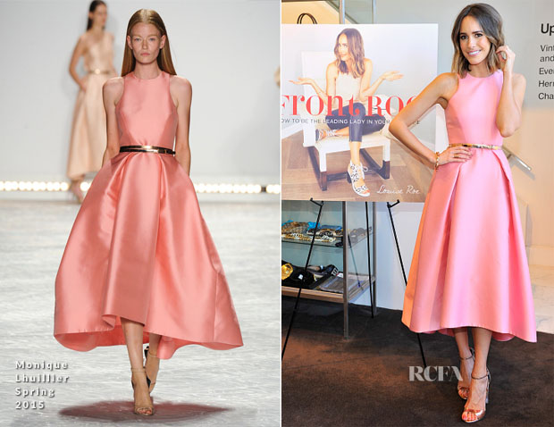 Louise Roe In Monique Lhuillier - 'Front Roe' Book Launch Party