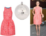 Maisie Williams' Markus Lupfer 'Erica' Brocade Mini Dress And Lulu Guinness Disco-Ball Orb Clutch