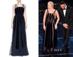 Margot Robbie's Valentino Stripe Appliqué Mesh Tulle Gown