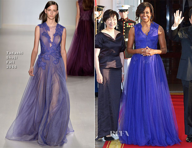 Michelle Obama In Tadashi Shoji - White House State Dinner