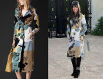 Naomi Campbell's Burberry Book Cover Print Silk Trench Coat
