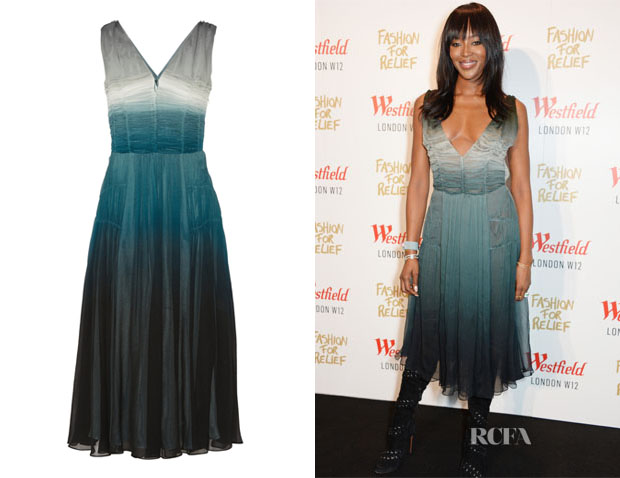 Naomi Campbell's Burberry Prorsum Dégradé Silk-Crepe Midi Dress