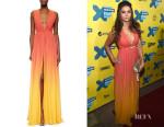 Nina Dobrev's Elie Saab High-Slit Ombre Silk Gown