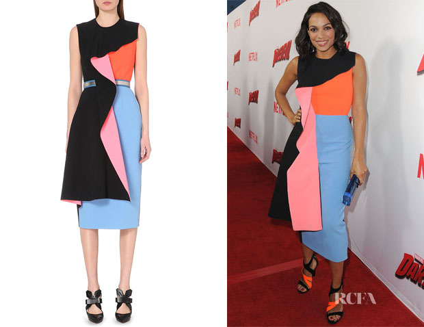 Rosario Dawson's Roksanda Draped Colour Block Dress