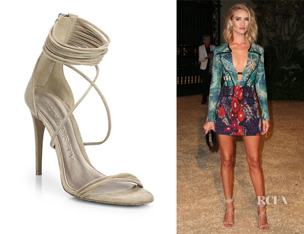 Rosie Huntington-Whiteley's Burberry 'Mirabell' Suede Sandals