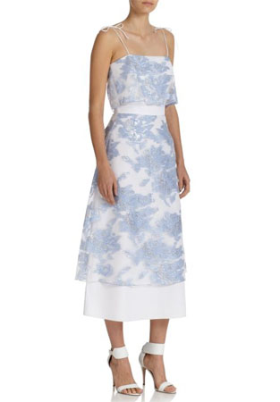 SUNO Printed Sheer-Overlay Dress