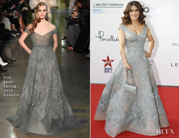 Salma Hayek In Elie Saab Couture - 'The Prophet' Beirut Premiere