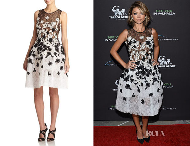 Sarah Hyland's Oscar de la Renta Floral Embroidered Lace Dress