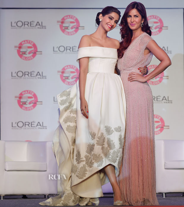 Sonam Kapoor In Ashi Studio & Katrina Kaif In Jenny Packham - L'Oreal Paris 'Matte or Gloss' Cannes Collection Launch