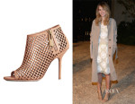 Suki Waterhouse's Burberry Leather Lattice Peep-Toe Ankle Boots
