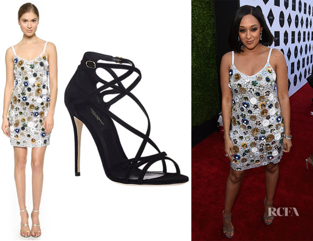 Tia Mowry-Hardrict's Vera Wang Sequin Party Dress And Dolce & Gabbana Crisscross-Strap Sandals