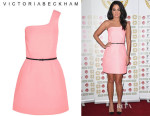 Tulisa Contostavlos' Victoria, Victoria Beckham One-Shoulder Jacquard Mini Dress
