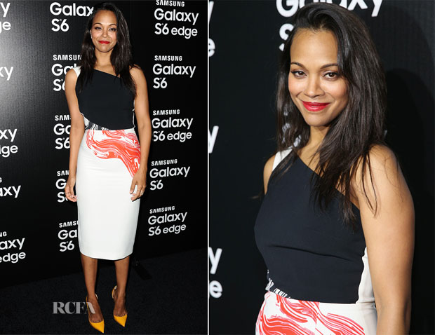 Zoe Saldana In Roland Mouret - Samsung Celebrates Launch Of Galaxy S 6 And Galaxy S 6 Edge