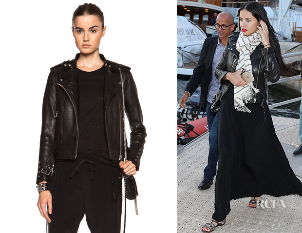 Adriana Lima's IRO 'Zaki' Leather Jacket - Red Carpet Fashion Awards