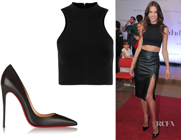 Alessandra Ambrosio's Versace Sleeveless Crop Top And Christian Louboutin 'So Kate' Leather Pumps