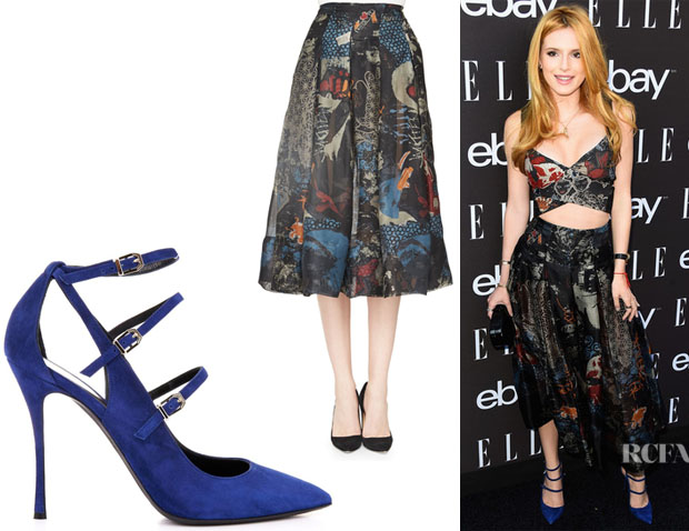 Bella Thorne's Donna Karan Street Art-Print Pleated Skirt And Nicholas Kirkwood 'Hutton' Multi-Strap Pumps