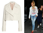 Beyonce Knowles' Balenciaga Cropped Basketweave Crepe Jacket