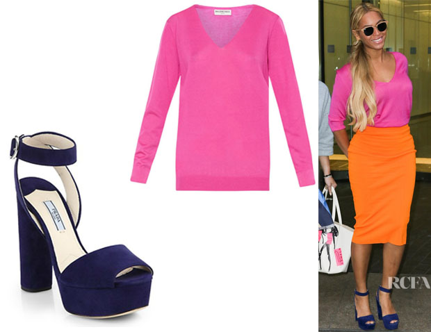 Beyonce Knowles' Balenciaga V-Neck Cashmere Sweater And Prada Suede Platform Sandals