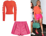 Beyonce Knowles' Cushnie et Ochs Long-Sleeve Slashed Crop Top And Dsquared² Shorts