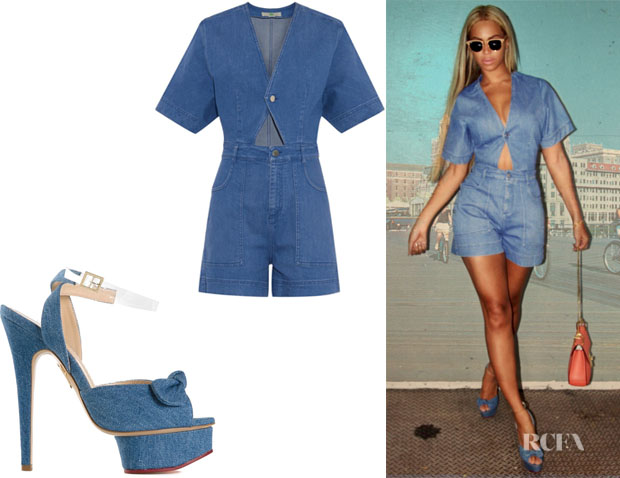 Beyonce Knowles' Stella McCartney Cut-Out Denim Playsuit And Charlotte Olympia 'Serena' Sandals