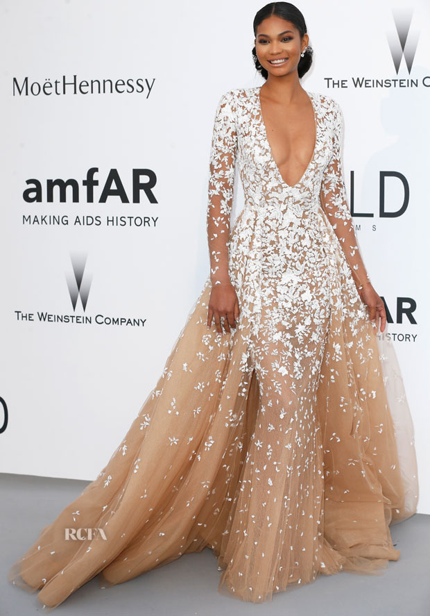 Chanel Iman In Zuhair Murad Couture - 2015 amfAR Cinema Against AIDS Gala