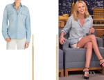 Charlize Theron's J Brand 'Edie' Shirt And Jennifer Meyer Stick Earrings