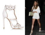 Chrissy Teigen's Alaïa Laser-Cut Leather Sandals